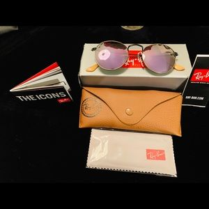 New Ray-Ban Lilac Mirrored Round Metal Sunglasses